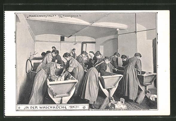 AK Wien, Waschfrauen in der Waschküche der Marienanstalt, Fasanengasse 4