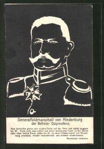 AK Generalfeldmarschall Paul von Hindenburg als optische Täuschung als Negativ