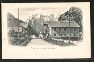 AK Landro, Strassenpartie mit Monte Cristallo im Hintergrund