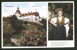 AK Marienbad, Café Egerländer, Frau in Egerländer Tracht