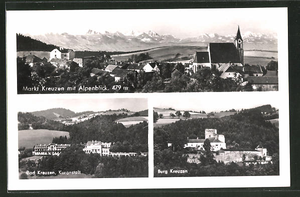 AK Markt Kreuzen, Bad Kreuzen Kuranstalt, Burg Kreuzen