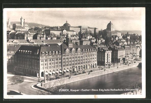 AK Zürich, Teilansicht mit Kaspar-Escher-Haus, Eidg. techn. Hochschule und Universität