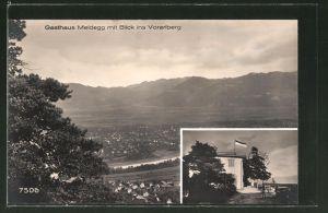 AK Walzenhausen, Gasthaus Meldegg mit Blick ins Voralberg
