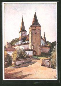 Künstler-AK Siebenbürgen, Trude Schullerus: Kirchenburg Meschen, begonnen im 15. Jahrhundert