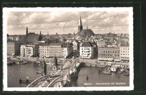 AK Stettin, Ortsansicht mit Hansabrücke