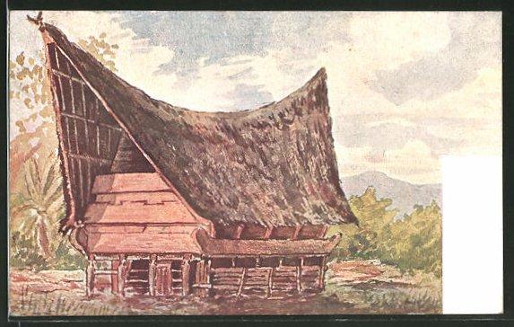 Künstler-AK Sumatra, Ansicht eines Batakschen Hauses