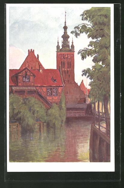 AK Danzig / Gdansk, Müllergewerkshaus mit Katharinenkirche