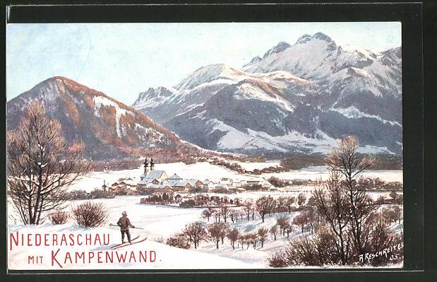Künstler-AK Rudolf Reschreiter: Niederaschau, Ortsansicht mit Kampenwand im Winter