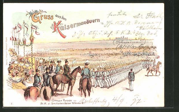 Lithographie Kaisermanöver, Grosse Parade vor Kaiser Wilhelm II.