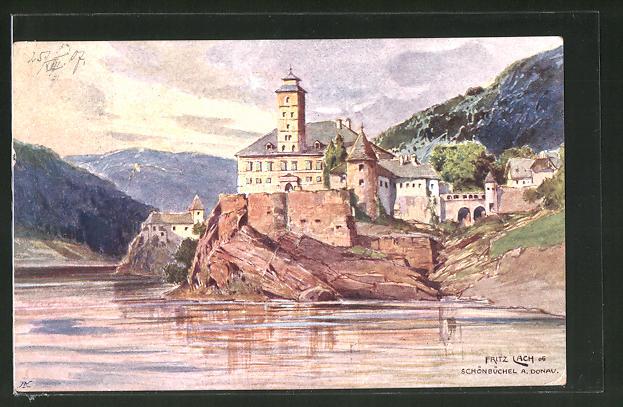 Künstler-AK Fritz Lach: Schönbüchel a. Donau vom Fluss aus gesehen