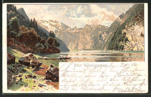 Künstler-Lithographie Otto Strützel: Der Königsee, Panorama mit Boot