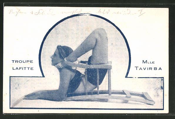 AK Troupe Lafitte, Mademoiselle Tavirba, Schlangenmensch, Zirkus, Varieté
