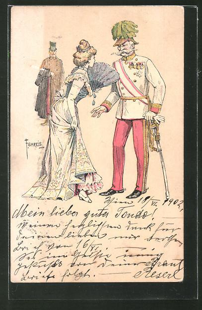 Künstler-Lithographie F. Gareis: Österr. Offizier und junge Dame