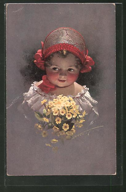 Künstler-AK Ludwig Knoefel: kleines Mädchen mit Haube und Blumen