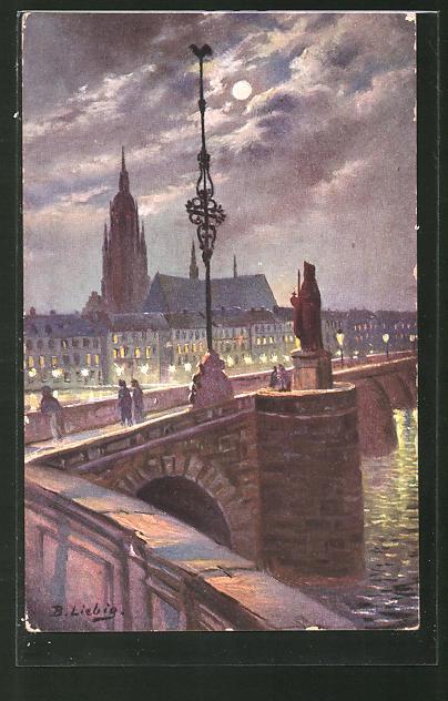 Künstler-AK Bernhard Liebig: Frankfurt a/M, die histor. alte Mainbrücke