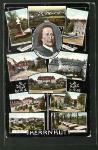 AK Herrnhut, Kirche, Brüderhaus, Schwesternhaus, Marktplatz