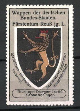 Reklamemarke Serie: Wappen der deutschen-Bundes-Staaten, Wappen vom Fürstentum Reuss
