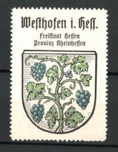 Reklamemarke Wappen, Westhofen in Hessen, Freistaat Hessen, Provinz Rheinhessen