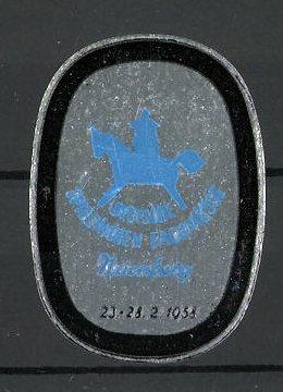 Präge-Reklamemarke Nürnberg, deutsche Spielwaren-Fachmesse 1958, Messelogo