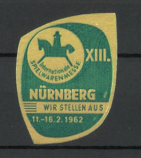 Präge-Reklamemarke Nürnberg, XIII. internationale Spielwaren-Fachmesse 1962, Messelogo