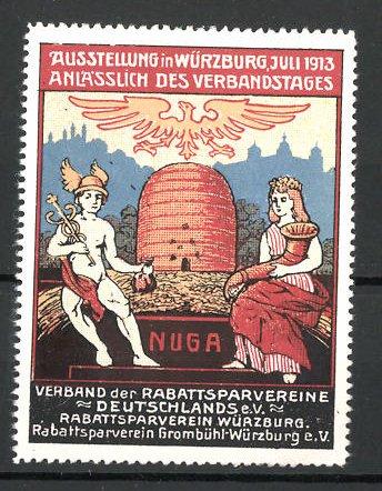 Reklamemarke Würzburg, Ausstellung des Verbandes deutscher Rabattsparvereine 1913, Hermes und Germania