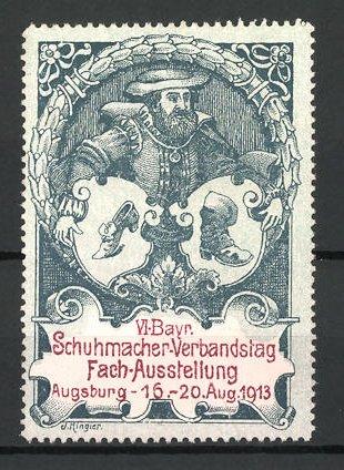 Reklamemarke Augsburg, VI. bayerische Fachausstellung der Schuhmacher 1913, Schuhmacher mit Wappen