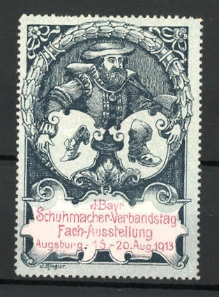Reklamemarke Augsburg, VI. bayerische Fach-Ausstellung der Schuhmacher 1913, Schuhmacher mit Schuhen