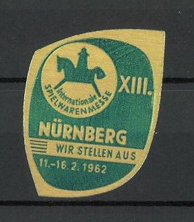 Präge-Reklamemarke Nürnberg, XIII. internationale Spielwarenmesse 1962, Messelogo