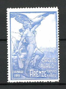 Reklamemarke Firenze, Circuito Aereo 1911, Mann mit Propeller und Adler, blau