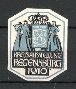 Künstler-Reklamemarke Paul Neu, Regensburg, Kreisausstellung 1910, Frauen tragen Wappen