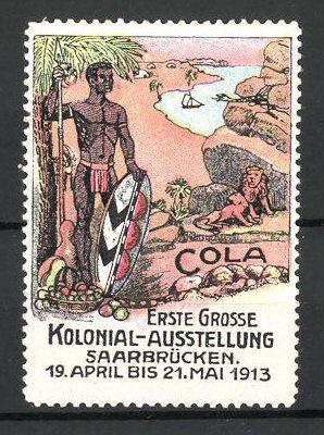 Reklamemarke Saarbrücken, erste grosse Kolonial-Ausstellung 1913, Afrikaner mit Speer und Löwen
