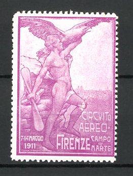 Reklamemarke Firenze, Circuito Aeero 1911, Mann mit Propeller und Adler, lila