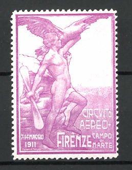 Reklamemarke Firenze, Circuito Aereo 1911, Mann mit Propeller und Adler, lila