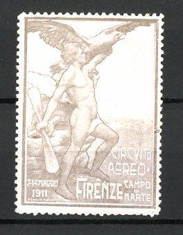 Reklamemarke Firenze, Circuito Aereo 1911, Mann mit Propeller und Adler, grau