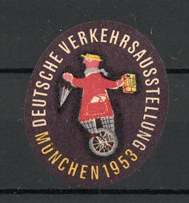 Reklamemarke München, deutsche Verkehrs-Ausstellung 1953, Messelogo