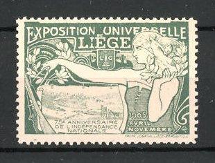 Reklamemarke Liége, Exposition Universelle 1905, Bäuerin mit Zirkel und Ortsmotiv, grün