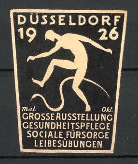 Präge-Reklamemarke Düsseldorf, grosse Ausstellung für Leibesübungen und Gesundheitspflege 1926, Mann mit Schlange, weiss
