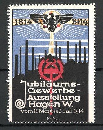 Reklamemarke Hagen, Jubiläums-Gewerbeausstellung 1914, Messelogo