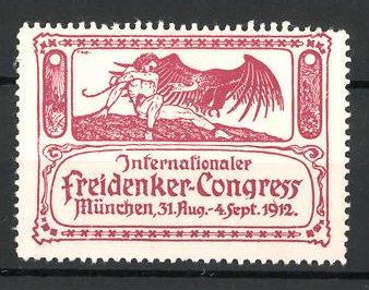 Reklamemarke München, internationaler Freidenker-Kongress 1912, Mann mit Geier, rot