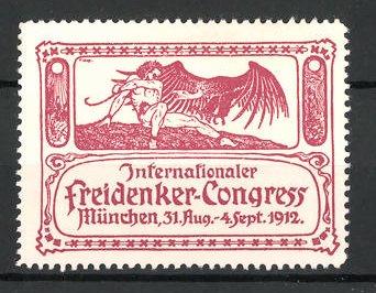 Reklamemarke München, internationaler Freidenker-Kongress 1912, Mann mit Geier