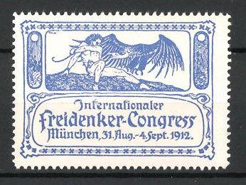 Reklamemarke München, internationaler Freidenker-Kongress 1912, Mann mit Geier, blau