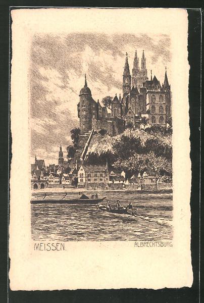 Künstler-AK Meissen, Blick auf die Albrechtsburg