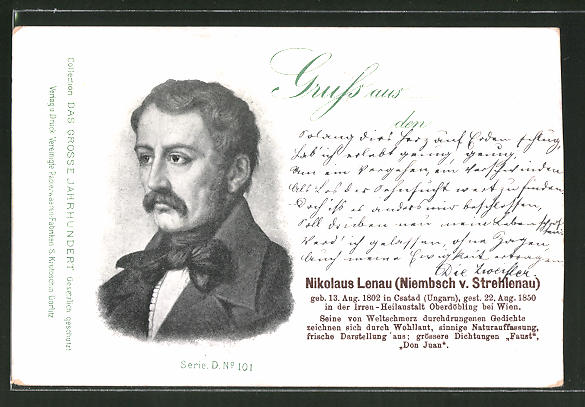 AK Portrait Dichter Nikolaus Lenau (Niembsch v. Strehlenau)