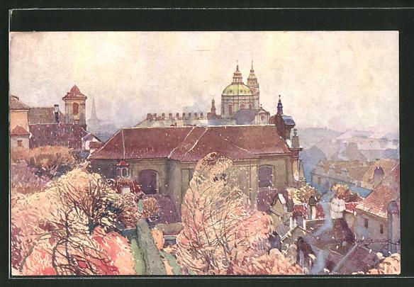 Künstler-AK Jaroslav Setelik: Prag, St. Kajetans-Kirche auf der Kleinseite