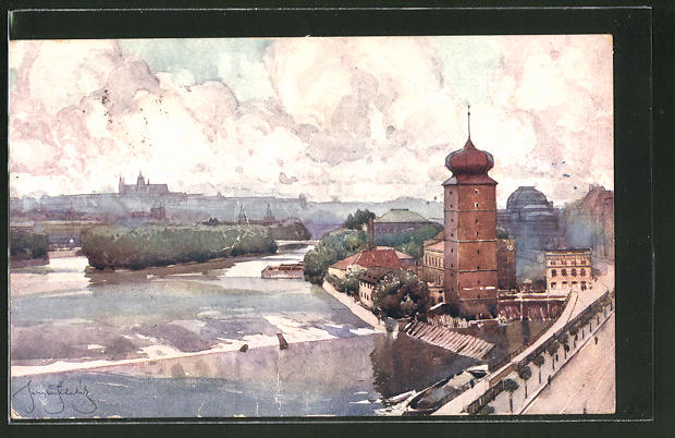 Künstler-AK Jaroslav Setelik: Prag vom Palackykai aus gesehen