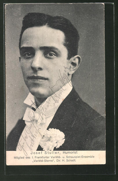 AK Josef Stuller, Humorist, Mitglied des I. Frankfurter Variété- u. Schauspiel-Ensemble Variété-Sterne