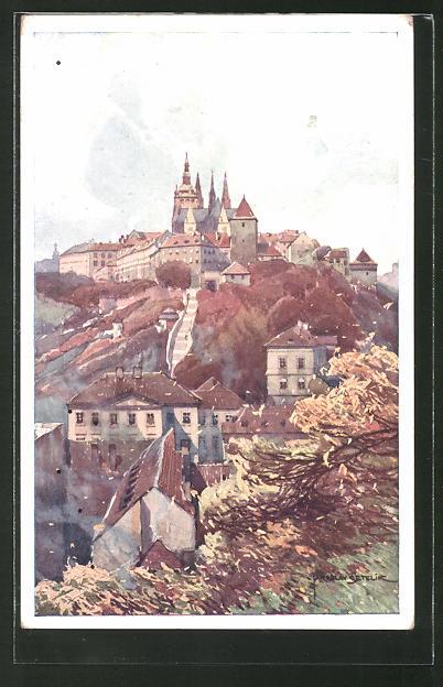 Künstler-AK Jaroslav Setelik: Prag, Hrad od