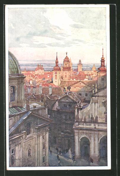 Künstler-AK Jaroslav Setelik: Prag, Altstädter Gruppe vom Brückenturm aus