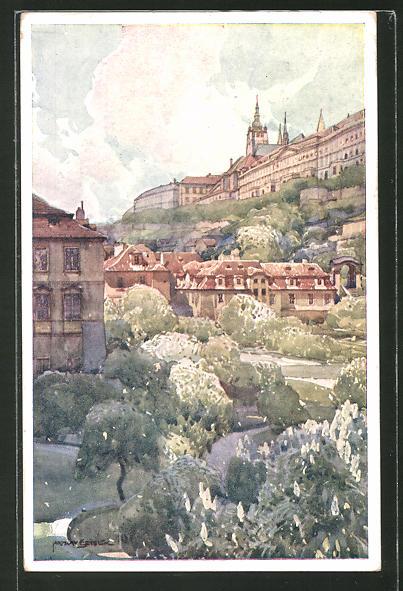 Künstler-AK Jaroslav Setelik: Prag, Blick in den Fürstenbergschen Garten