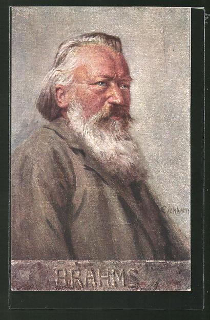 Künstler-AK Portrait des Komponisten Johannes Brahms